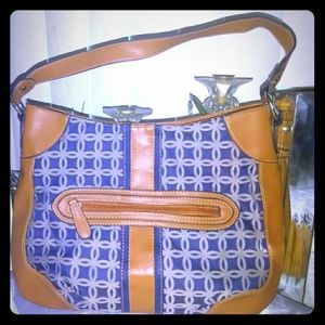 Croft & Barrow Blue Pattern with Brown Leather